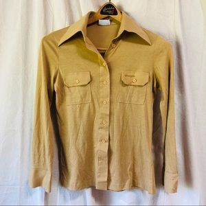 Vintage Wrangler camel colored jersey button down